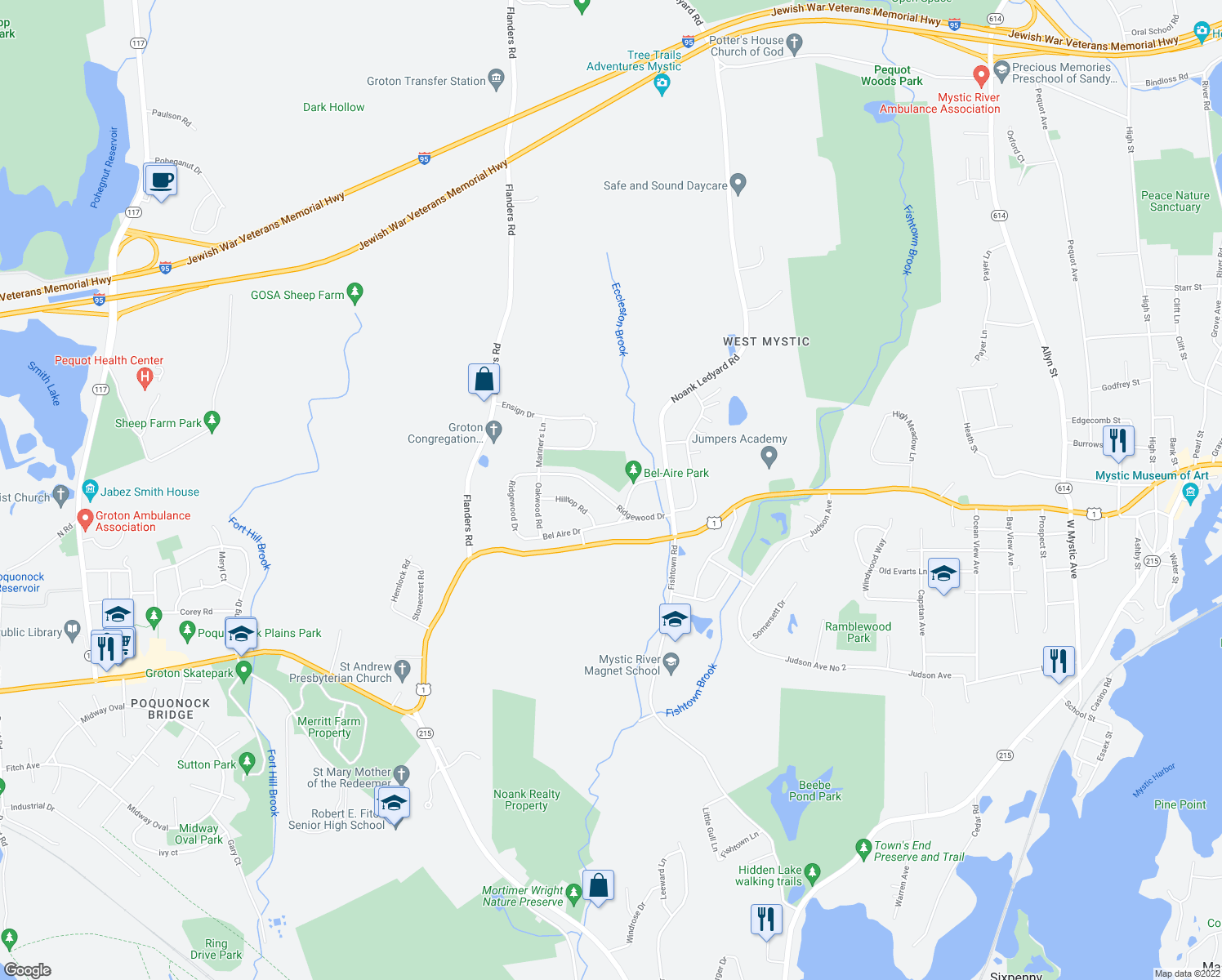 map of restaurants, bars, coffee shops, grocery stores, and more near 107 Ridgewood Drive in Groton