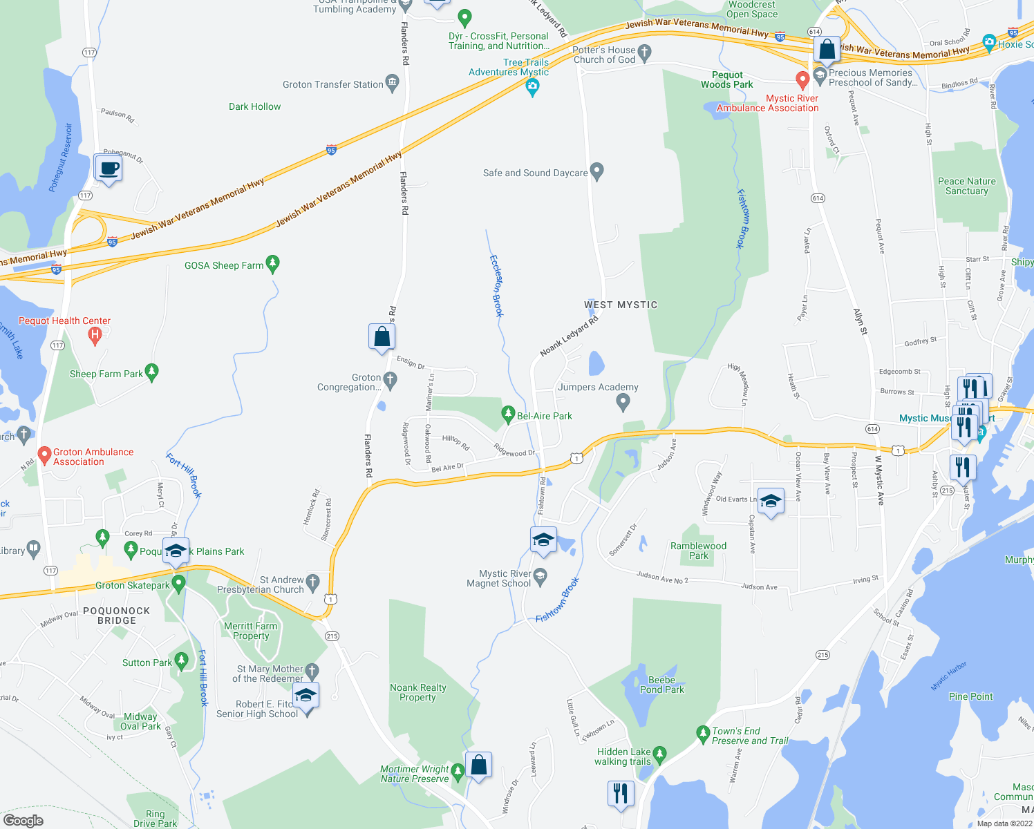 map of restaurants, bars, coffee shops, grocery stores, and more near 33 Bel Aire Drive in Groton