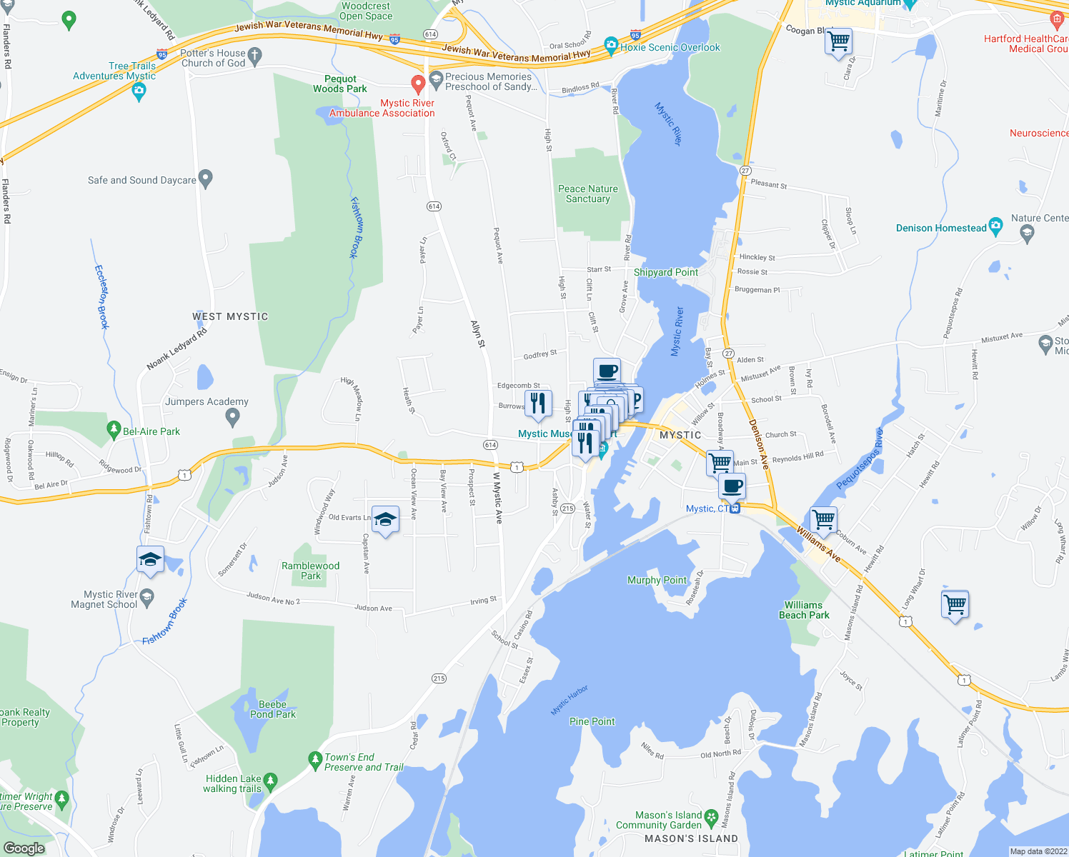 map of restaurants, bars, coffee shops, grocery stores, and more near 15 Elm St in Groton