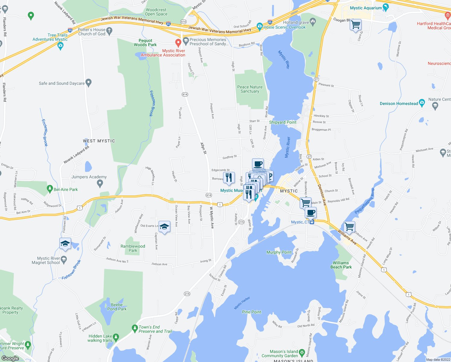 map of restaurants, bars, coffee shops, grocery stores, and more near 15 Burrows Street in Groton