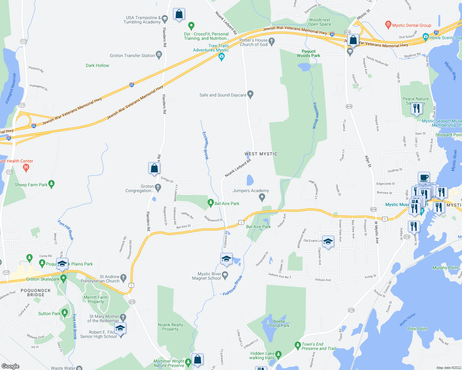 map of restaurants, bars, coffee shops, grocery stores, and more near 144 Daniel Brown Drive in Groton