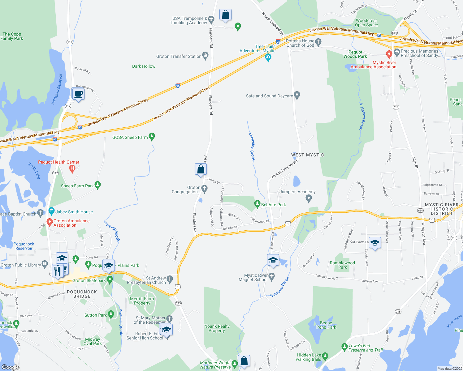 map of restaurants, bars, coffee shops, grocery stores, and more near 105 Ensign Drive in Groton