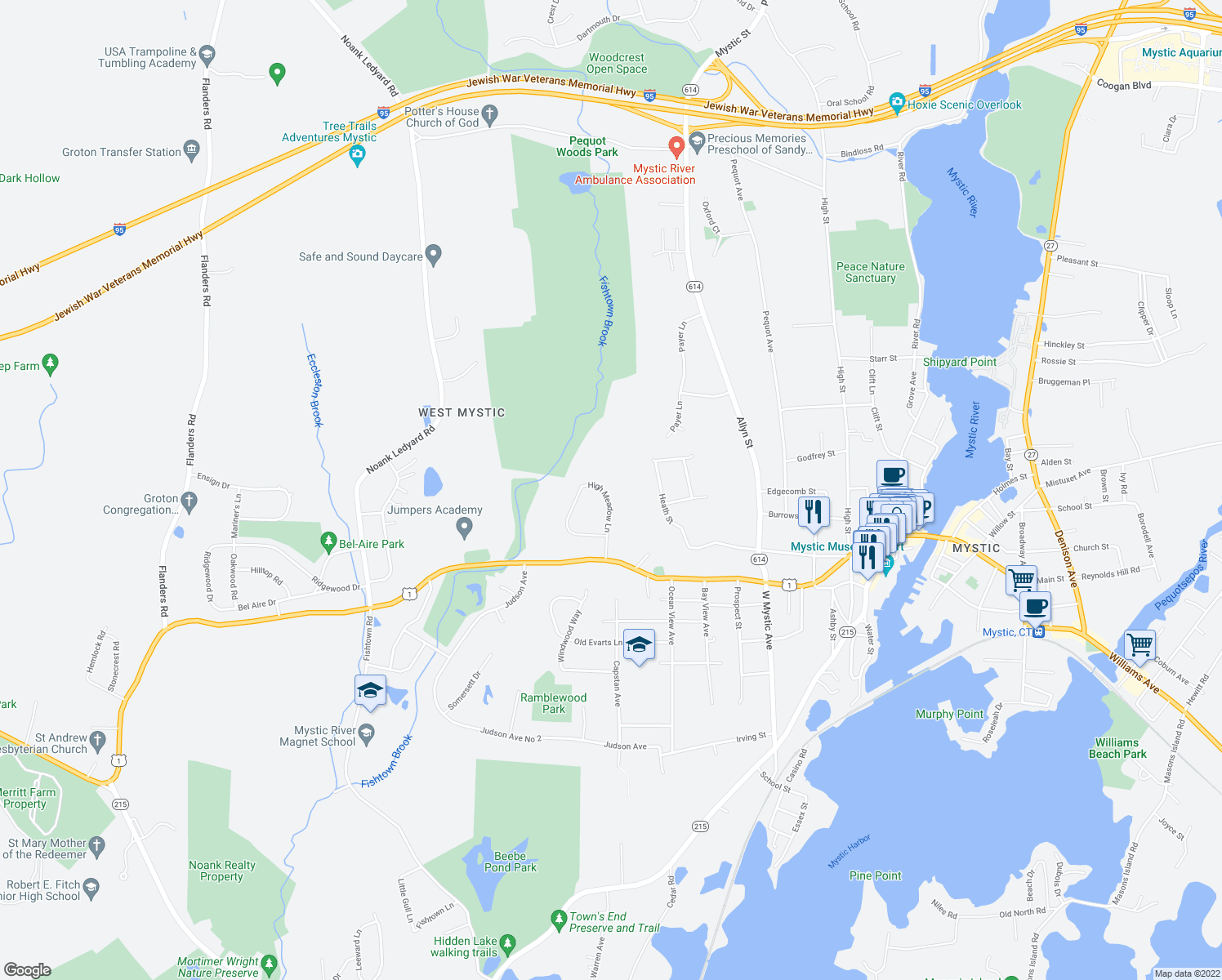 map of restaurants, bars, coffee shops, grocery stores, and more near 94 High Meadow Lane in Groton