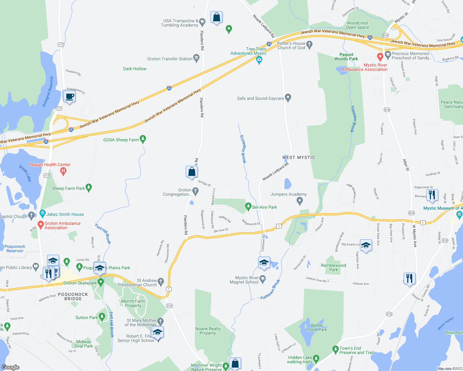 map of restaurants, bars, coffee shops, grocery stores, and more near 136 Ensign Drive in Groton