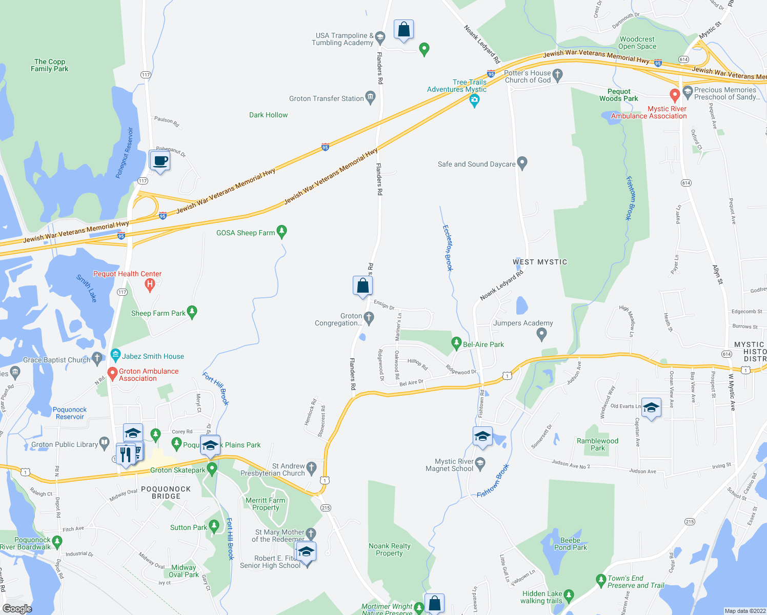 map of restaurants, bars, coffee shops, grocery stores, and more near 39 Ensign Drive in Groton