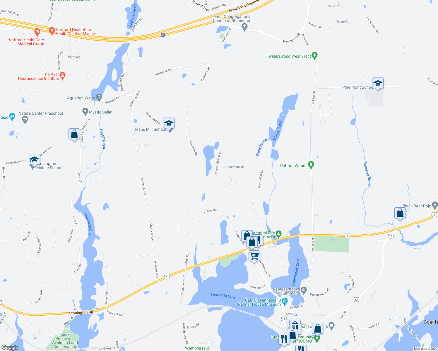 map of restaurants, bars, coffee shops, grocery stores, and more near 8 Shawondassee Dr in Stonington