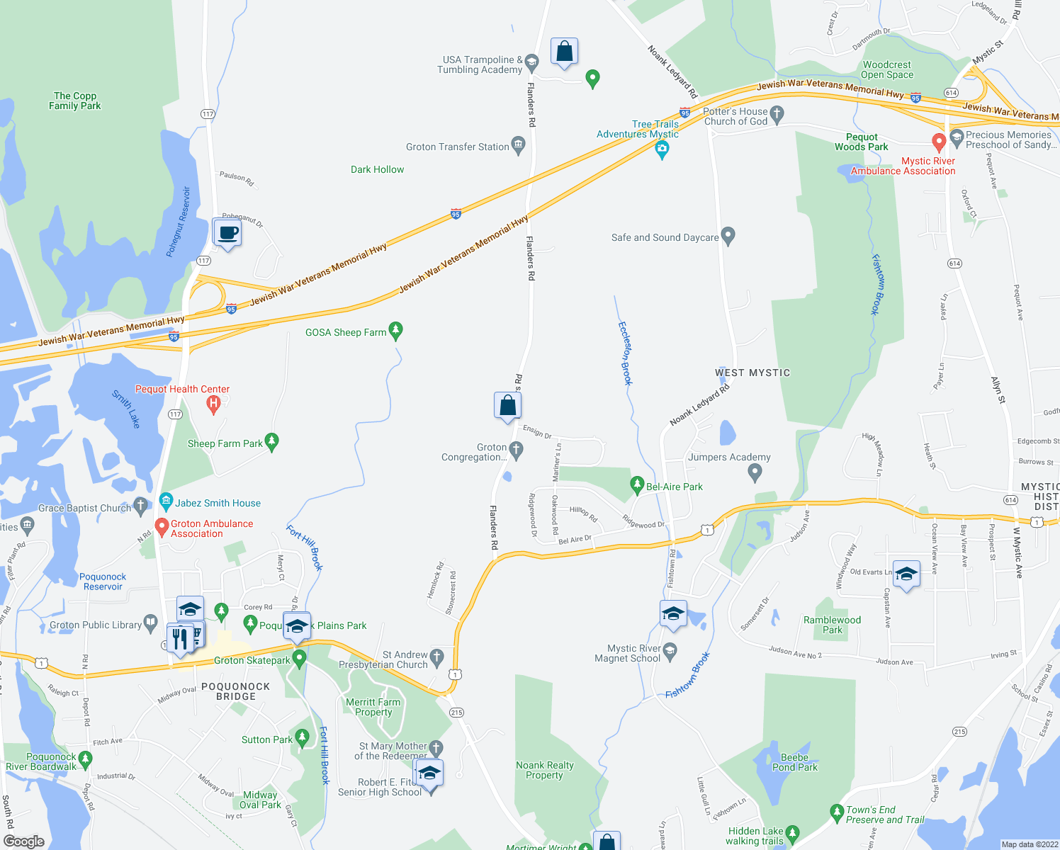 map of restaurants, bars, coffee shops, grocery stores, and more near 20 Ensign Drive in Groton