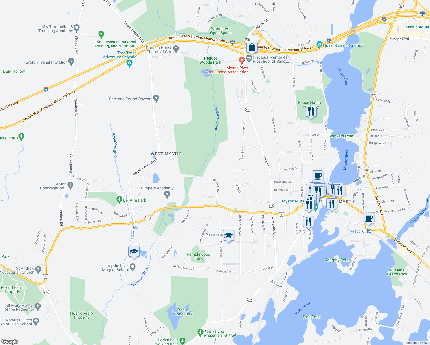 map of restaurants, bars, coffee shops, grocery stores, and more near 112 High Meadow Lane in Groton