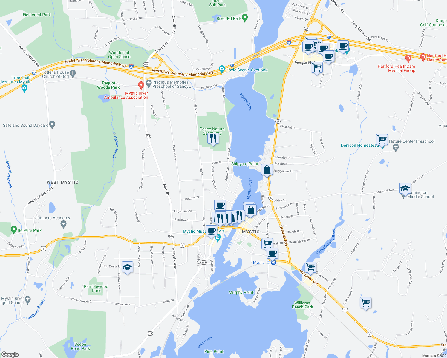map of restaurants, bars, coffee shops, grocery stores, and more near 7 Grove Avenue in Groton