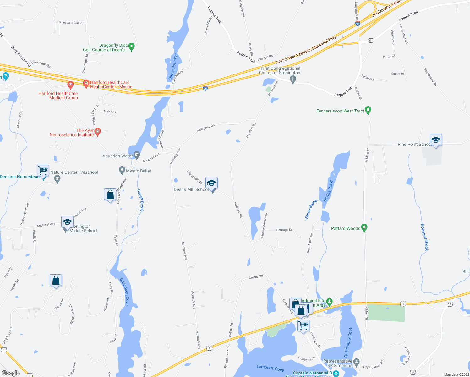 map of restaurants, bars, coffee shops, grocery stores, and more near 206 Flanders Rd in Stonington