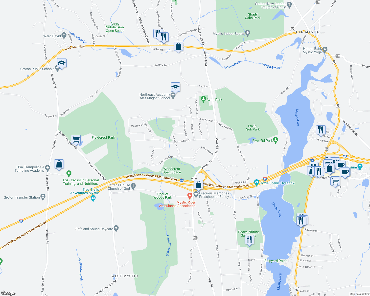 map of restaurants, bars, coffee shops, grocery stores, and more near 21 Raul Court in Groton