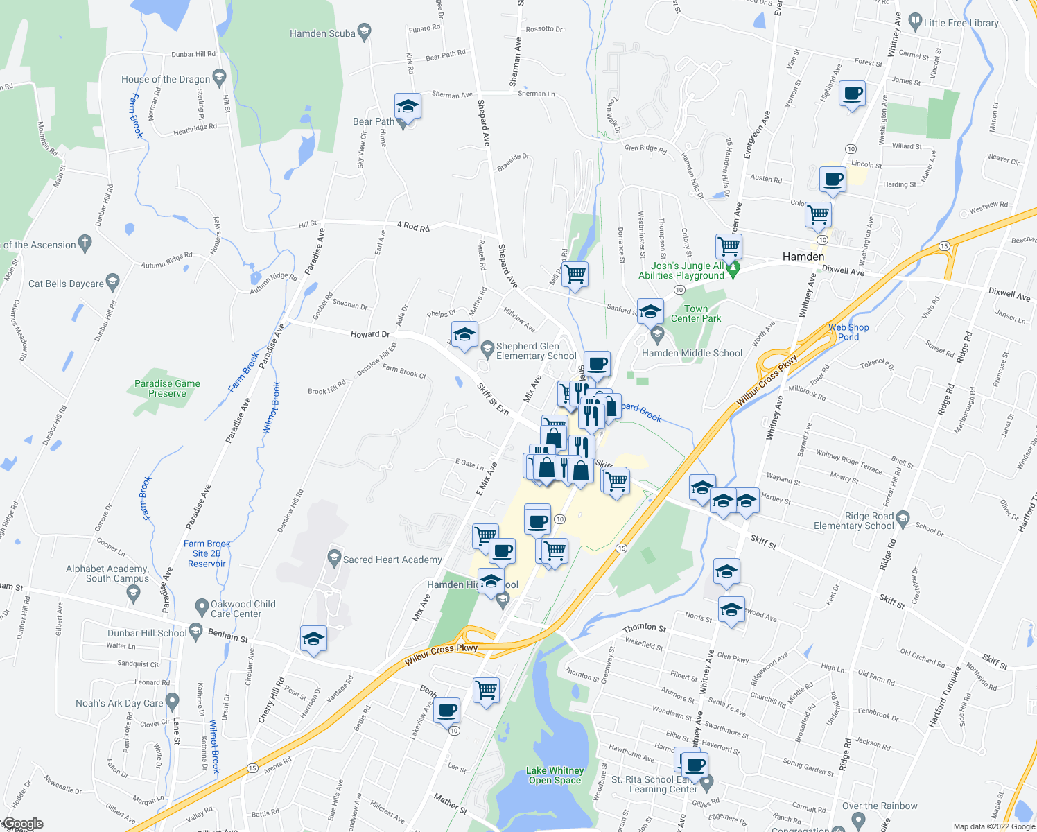 map of restaurants, bars, coffee shops, grocery stores, and more near Skiff St & Mix Ave in Hamden