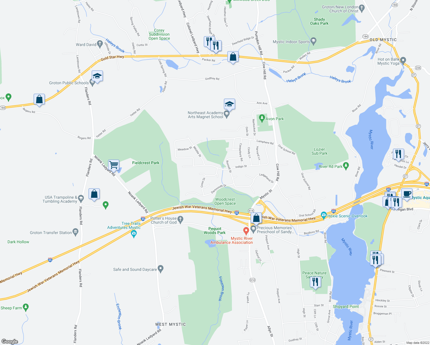 map of restaurants, bars, coffee shops, grocery stores, and more near 23 Crest Drive in Groton