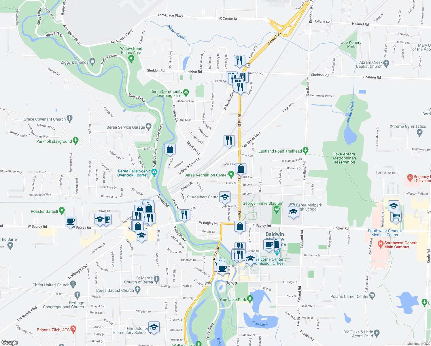 map of restaurants, bars, coffee shops, grocery stores, and more near 96 Lincoln Avenue in Berea