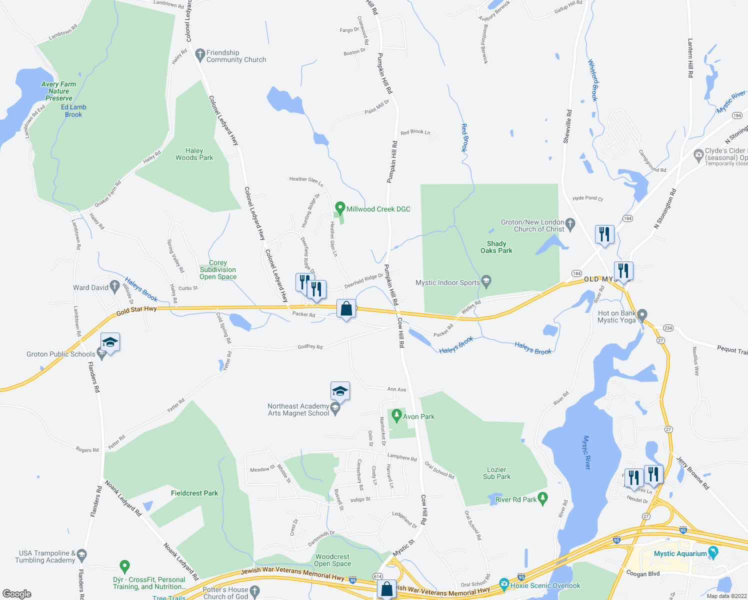 map of restaurants, bars, coffee shops, grocery stores, and more near 2590 Gold Star Highway in Groton