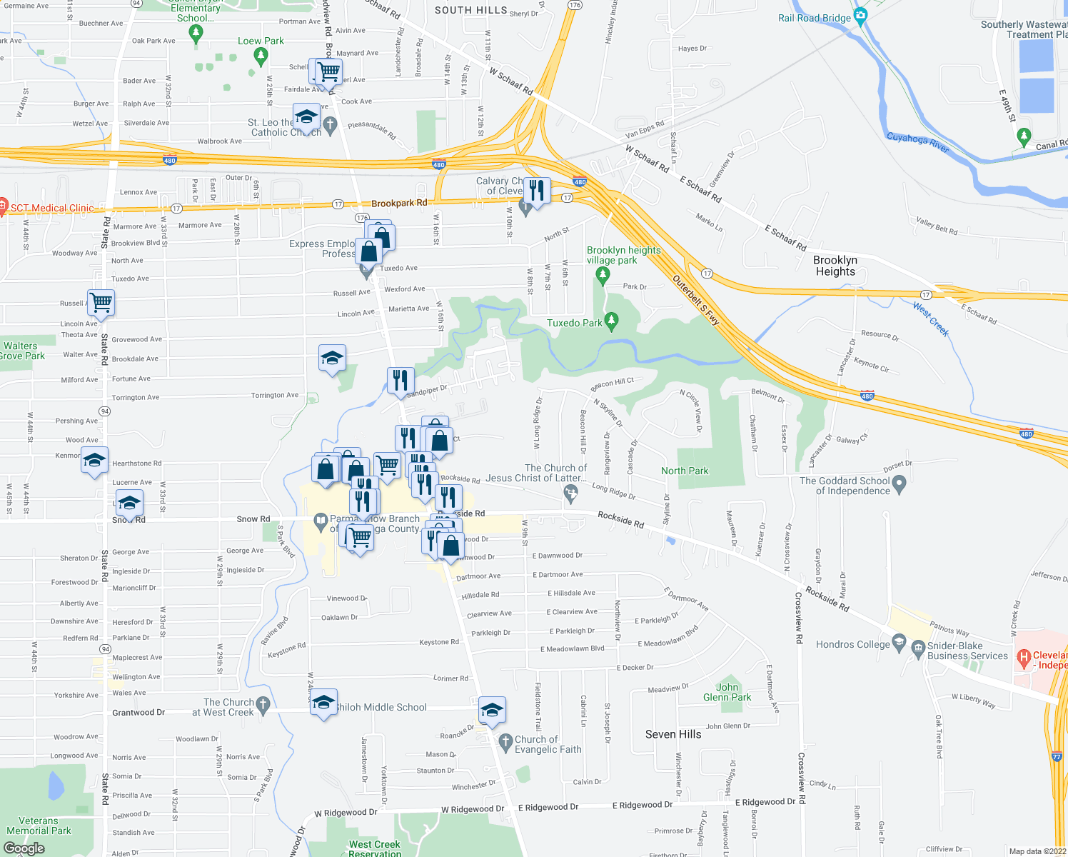 map of restaurants, bars, coffee shops, grocery stores, and more near West Long Ridge Drive in Seven Hills