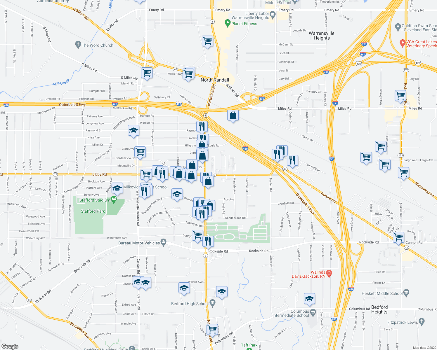 map of restaurants, bars, coffee shops, grocery stores, and more near 22030 Libby Road in Bedford Heights