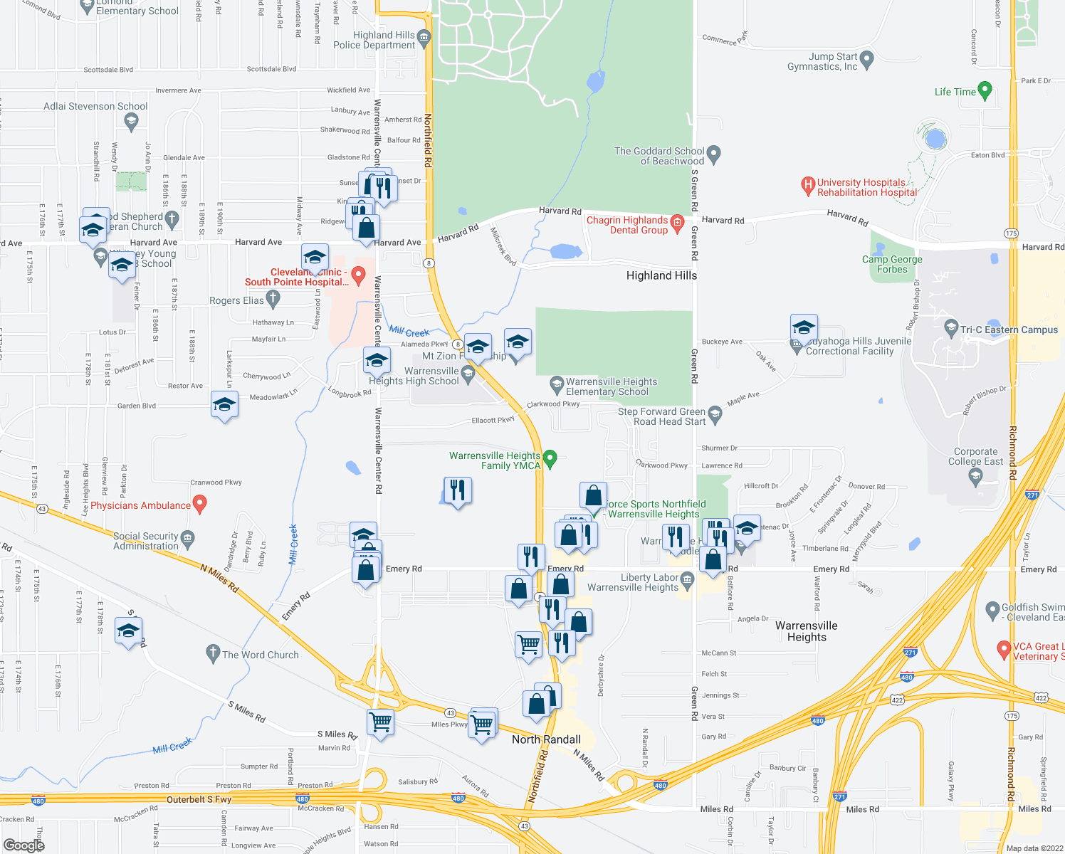 map of restaurants, bars, coffee shops, grocery stores, and more near 4353 Northfield Road in Cleveland