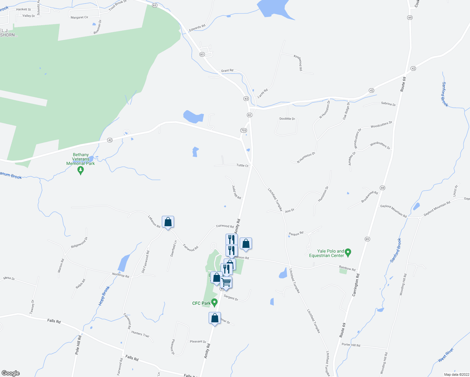 map of restaurants, bars, coffee shops, grocery stores, and more near 48 Judd Hill Road in Bethany