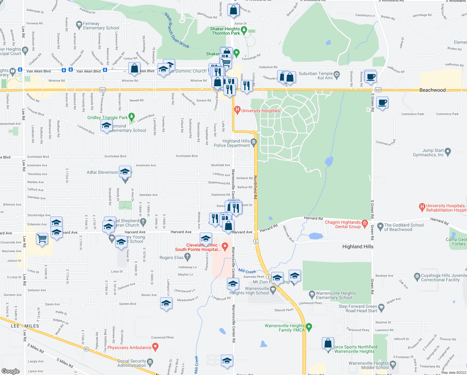 map of restaurants, bars, coffee shops, grocery stores, and more near Warrensville Center Rd & Balfour Rd in Warrensville Heights