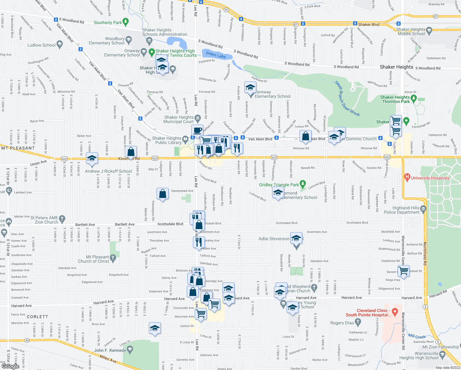 map of restaurants, bars, coffee shops, grocery stores, and more near Riedham Rd in Cleveland
