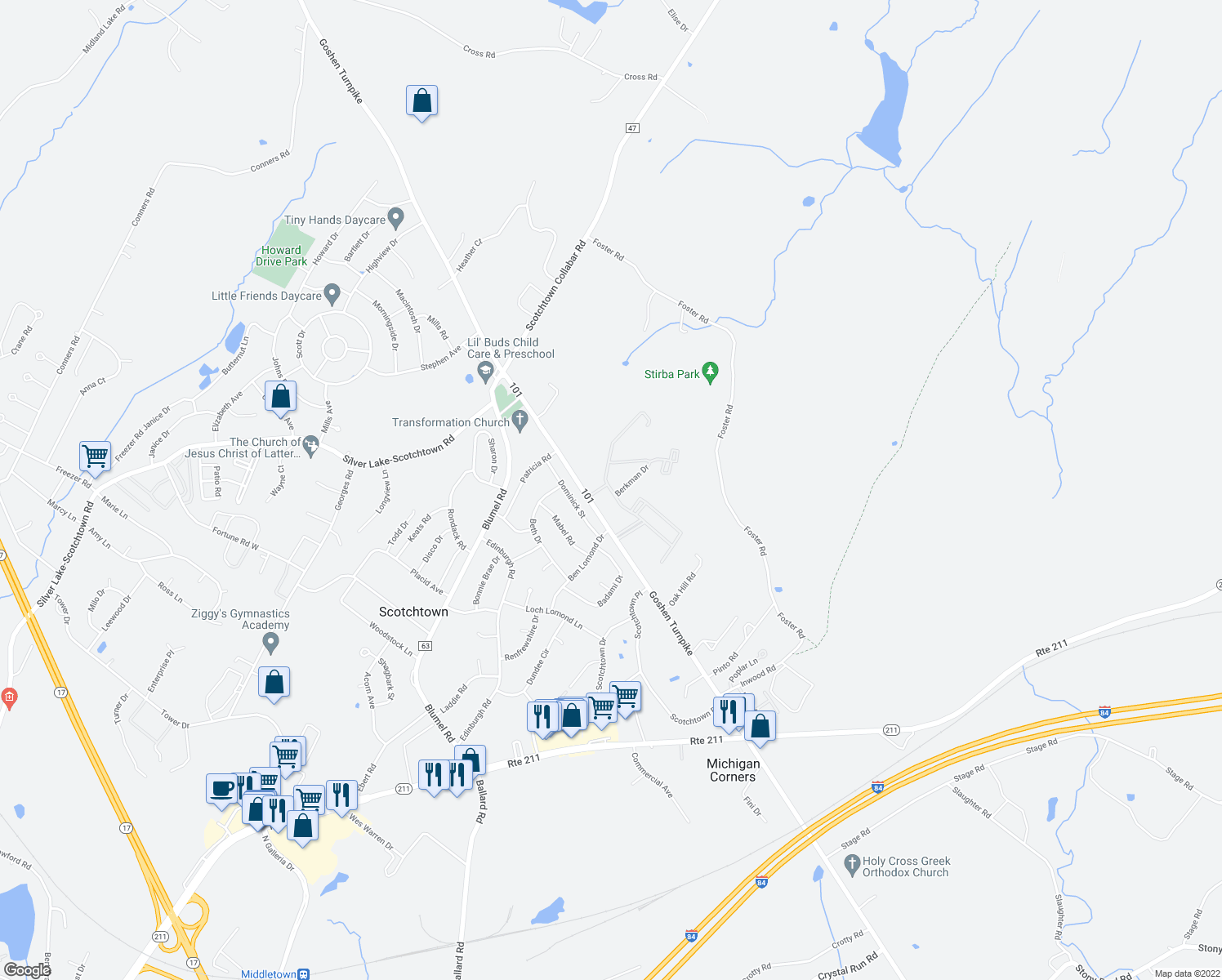 map of restaurants, bars, coffee shops, grocery stores, and more near Berkman Dr in Scotchtown