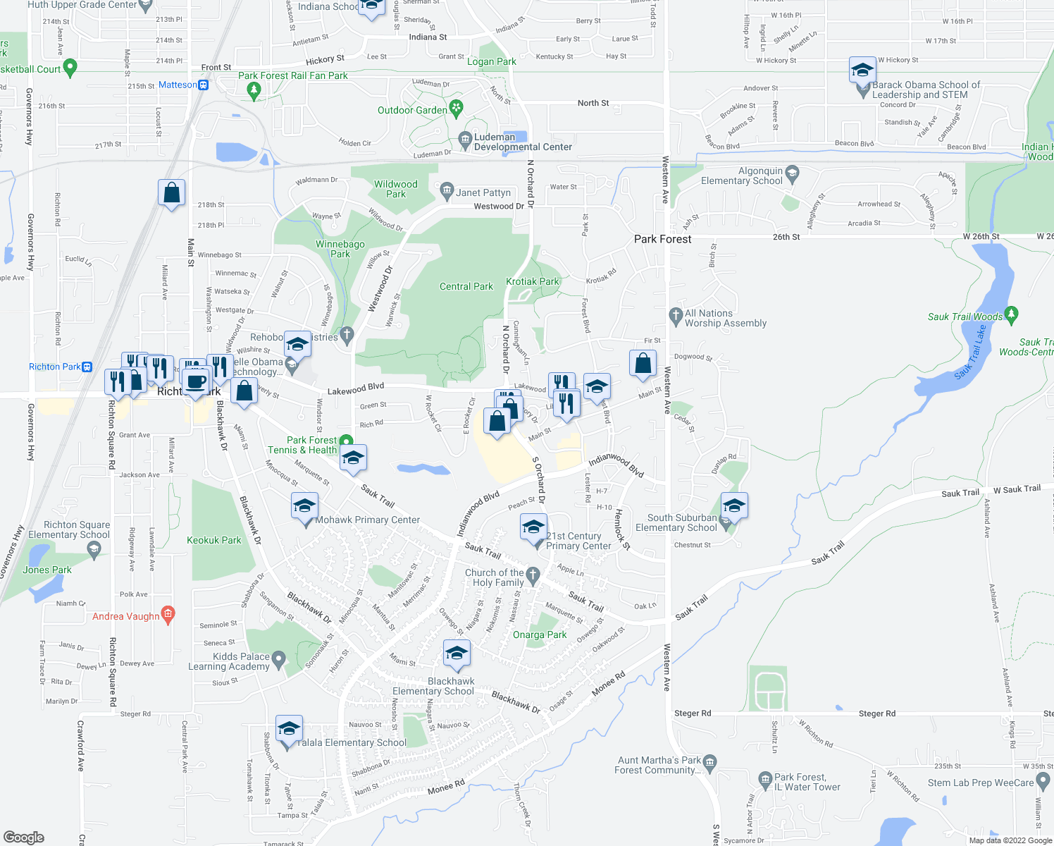 map of restaurants, bars, coffee shops, grocery stores, and more near 406 Main Street in Park Forest