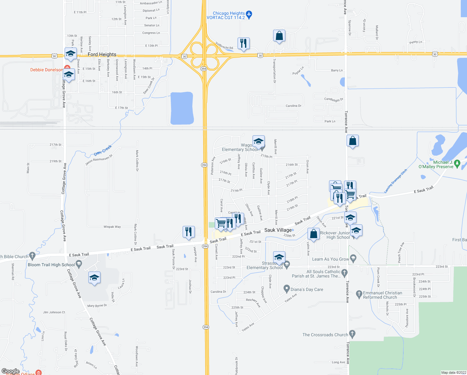 map of restaurants, bars, coffee shops, grocery stores, and more near 21659 Jeffrey Avenue in Sauk Village