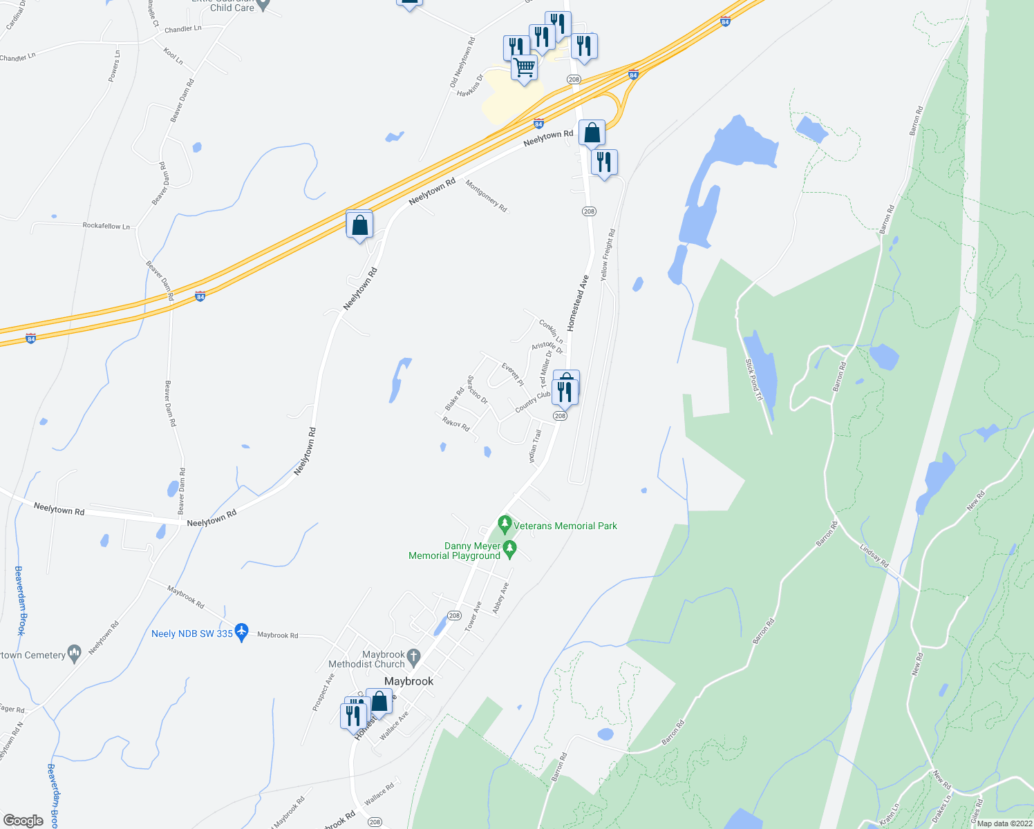 map of restaurants, bars, coffee shops, grocery stores, and more near 203-299 Country Club Drive in Maybrook