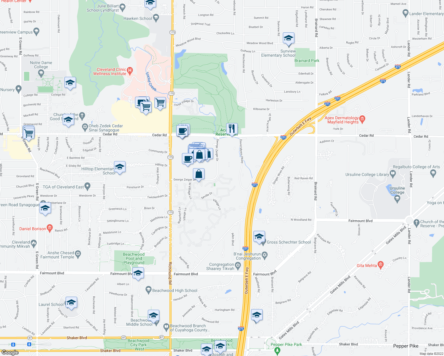 map of restaurants, bars, coffee shops, grocery stores, and more near 26945 Amhearst Cir in Beachwood