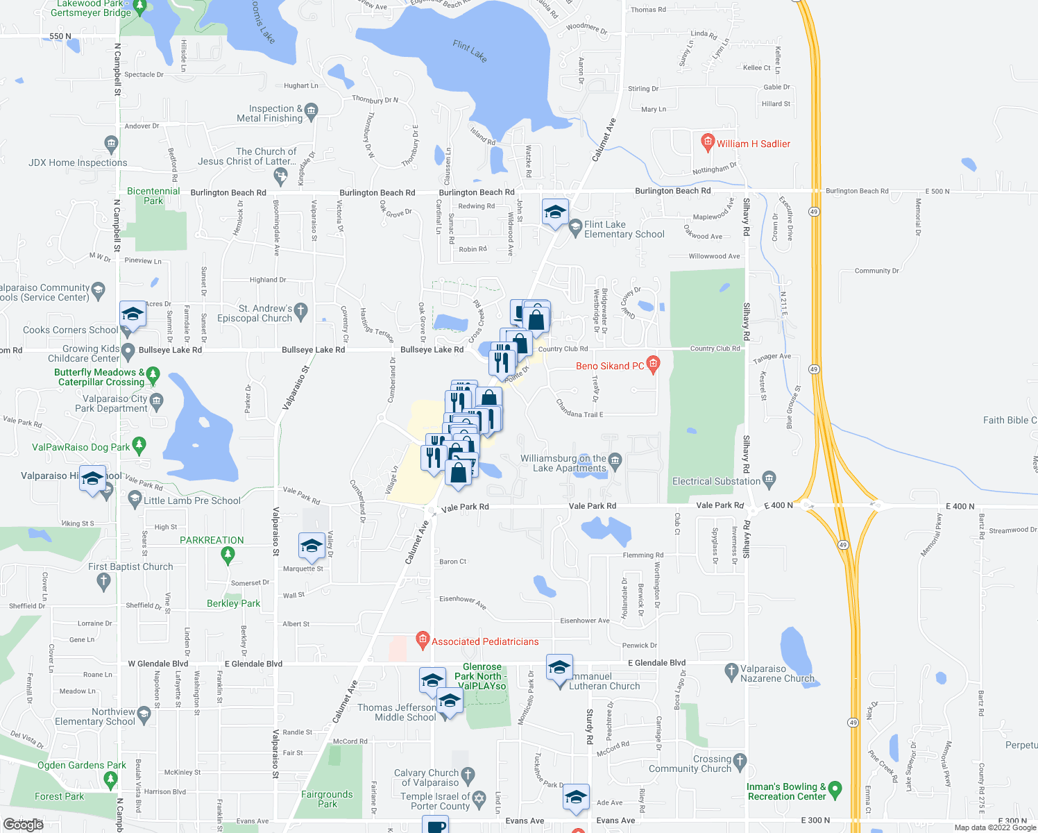 map of restaurants, bars, coffee shops, grocery stores, and more near 1600-1698 Potawatomi Lane in Valparaiso