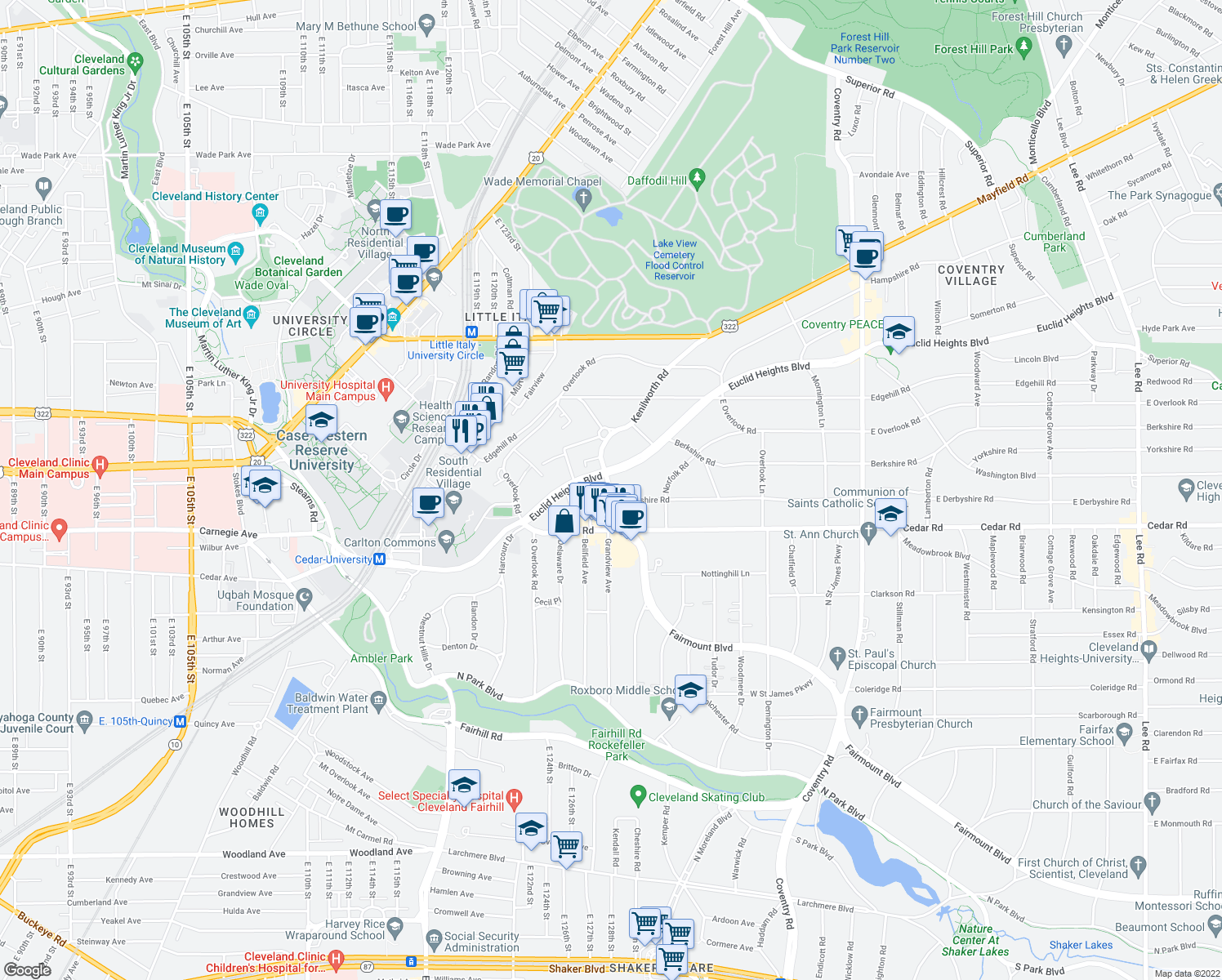 map of restaurants, bars, coffee shops, grocery stores, and more near Derbyshire Rd & Surrey Rd in Cleveland Heights