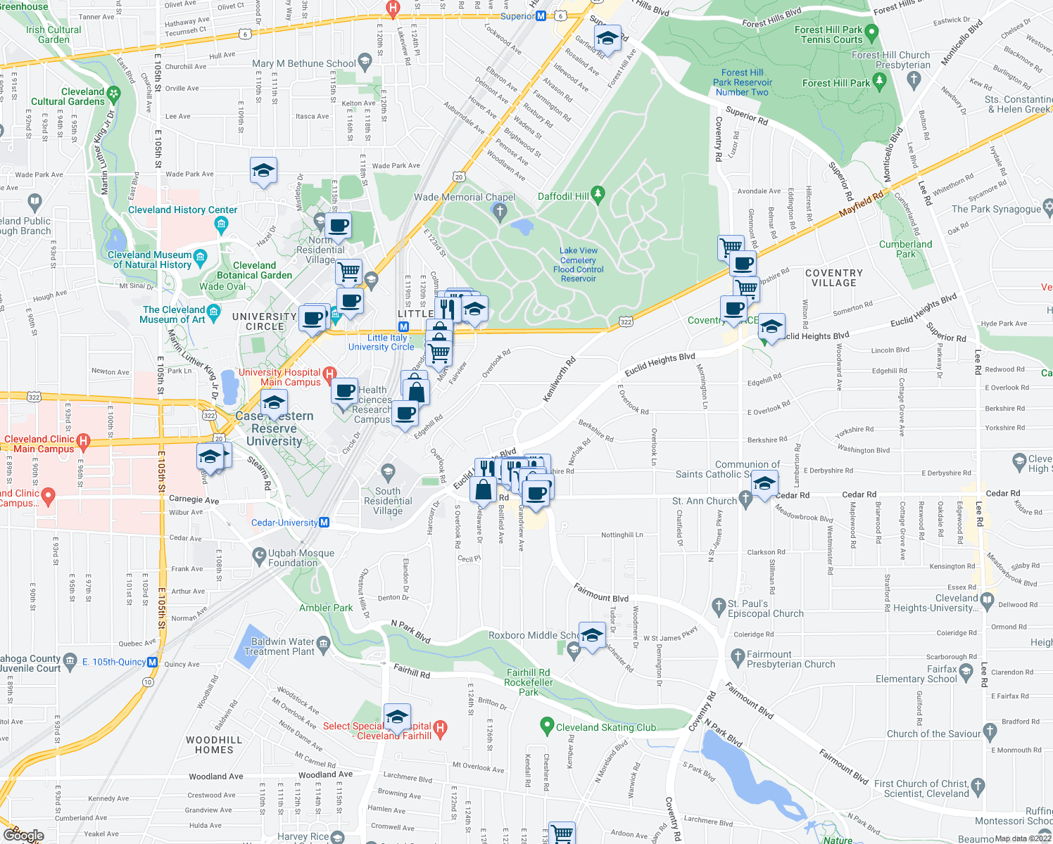 map of restaurants, bars, coffee shops, grocery stores, and more near 2432 Kenilworth Road in Cleveland Heights