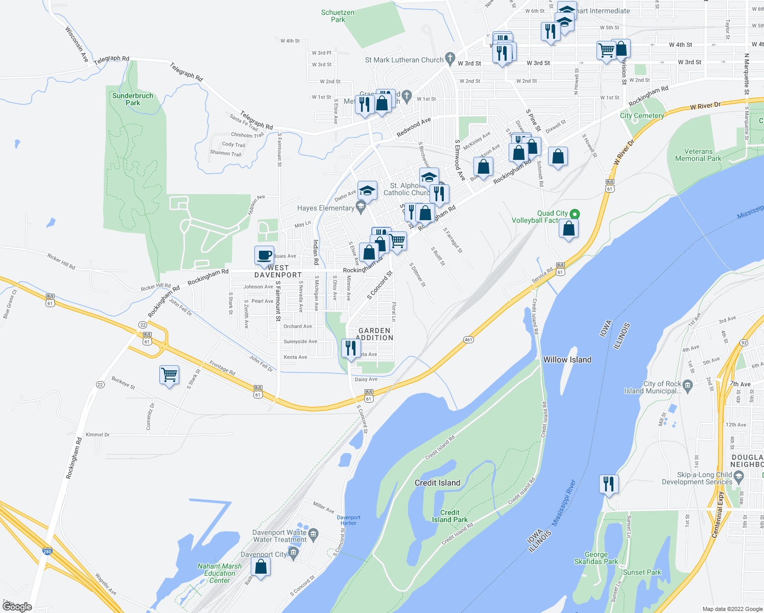 map of restaurants, bars, coffee shops, grocery stores, and more near 3125 Pearl Avenue in Davenport