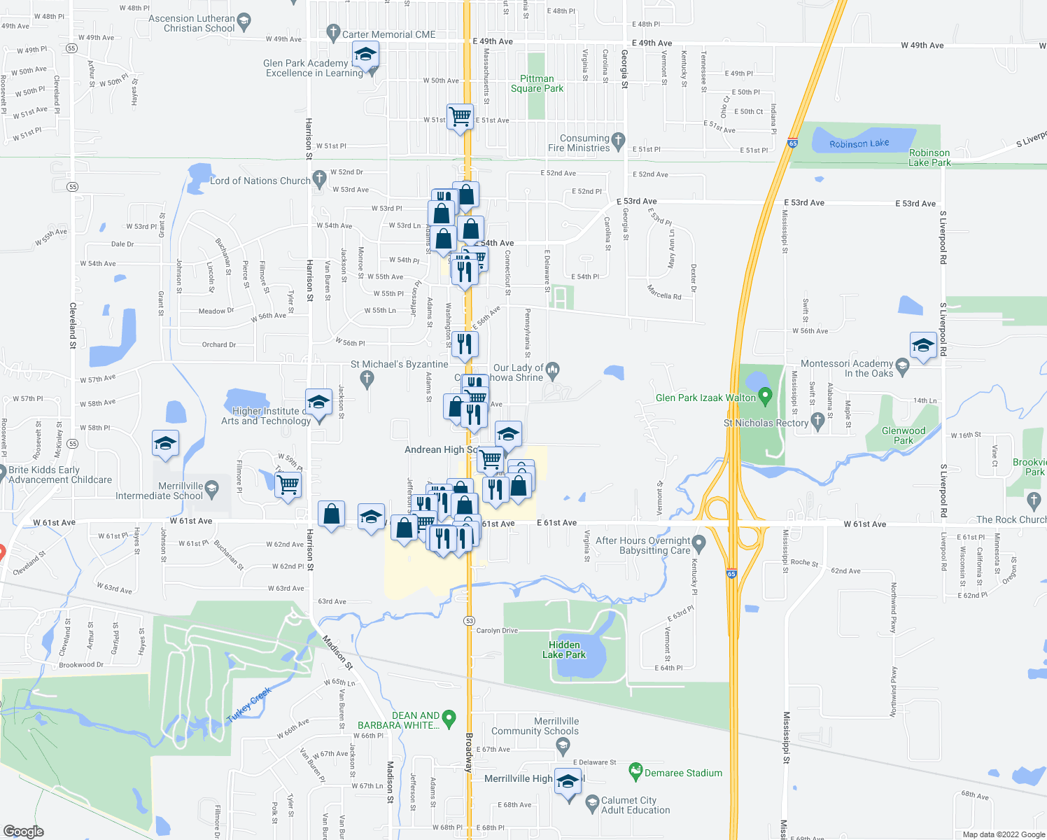 map of restaurants, bars, coffee shops, grocery stores, and more near 5860-5870 Pennsylvania Street in Merrillville