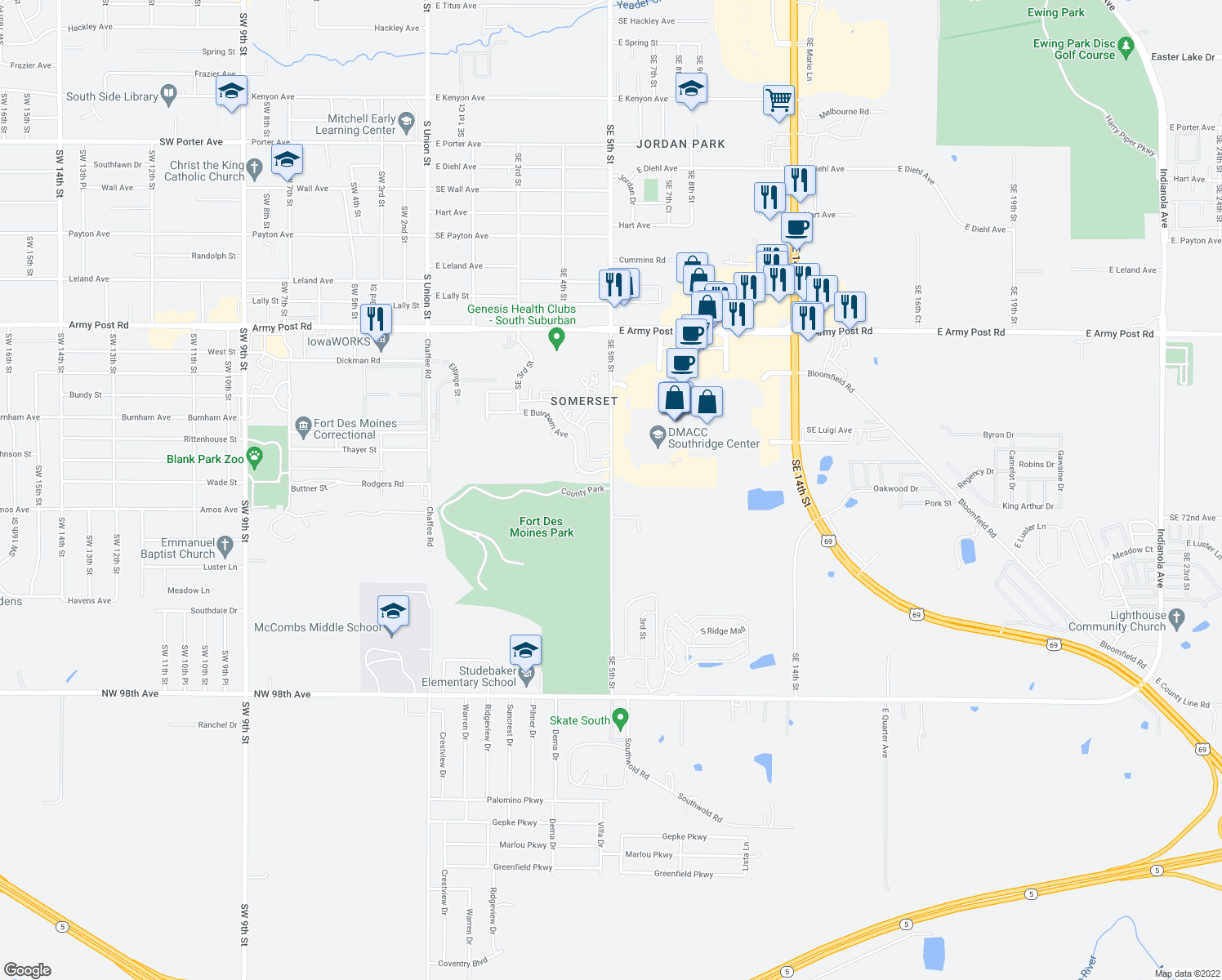 map of restaurants, bars, coffee shops, grocery stores, and more near 7207-7311 Southeast 5th Street in Des Moines