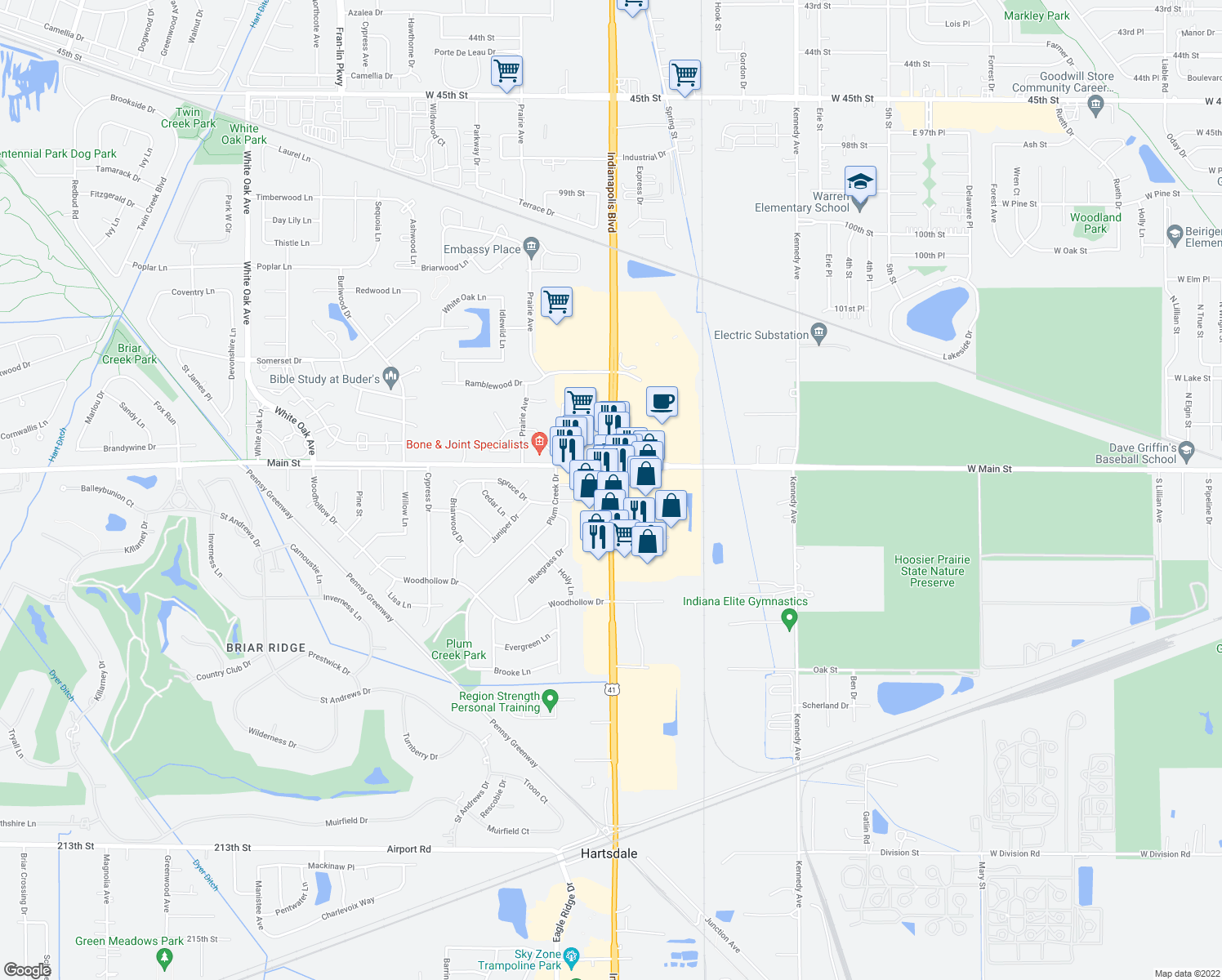 map of restaurants, bars, coffee shops, grocery stores, and more near 43 Indianapolis Blvd in Schererville