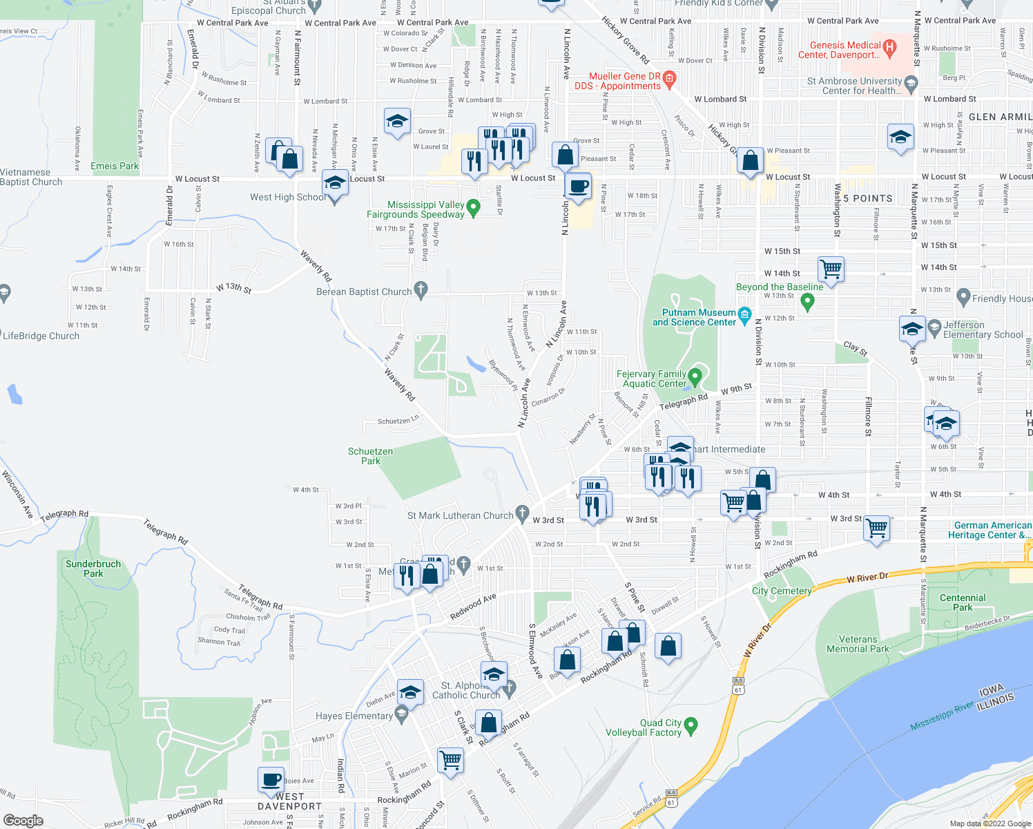 map of restaurants, bars, coffee shops, grocery stores, and more near 1 Waverly Court in Davenport