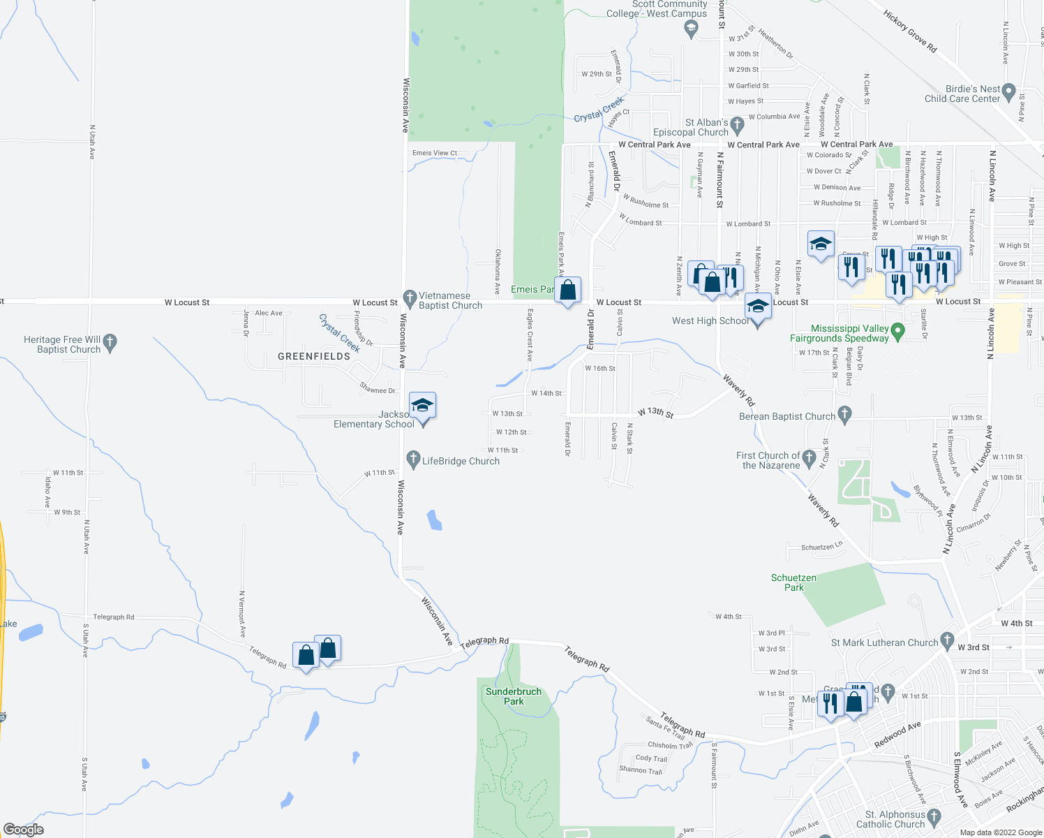 map of restaurants, bars, coffee shops, grocery stores, and more near 4601 West 13th Street in Davenport