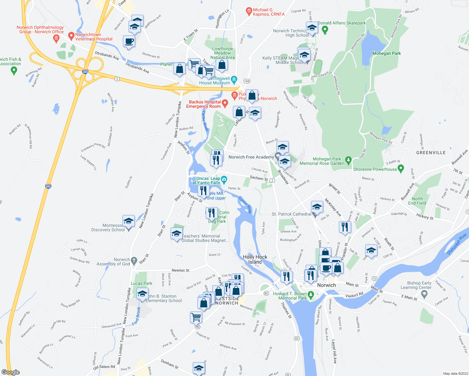 map of restaurants, bars, coffee shops, grocery stores, and more near 130-214 Yantic Street in Norwich