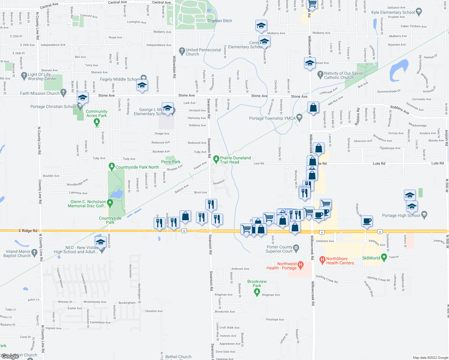 map of restaurants, bars, coffee shops, grocery stores, and more near 3274-3299 Swanson Circle in Portage