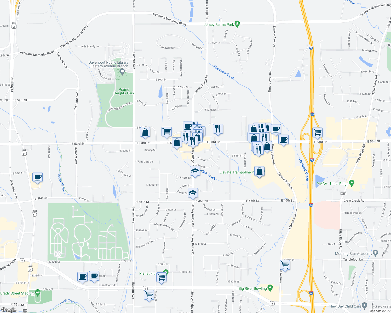 map of restaurants, bars, coffee shops, grocery stores, and more near 2418 E 51st St in Davenport