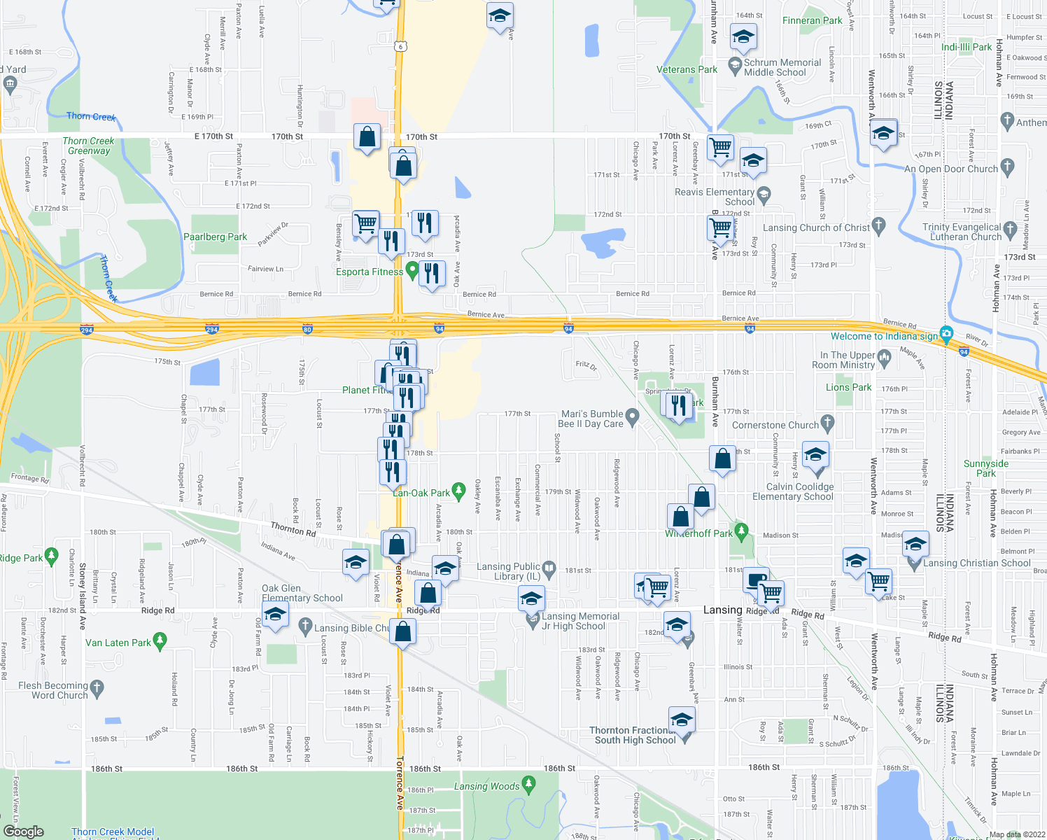 map of restaurants, bars, coffee shops, grocery stores, and more near 2700-2728 177th Street in Lansing