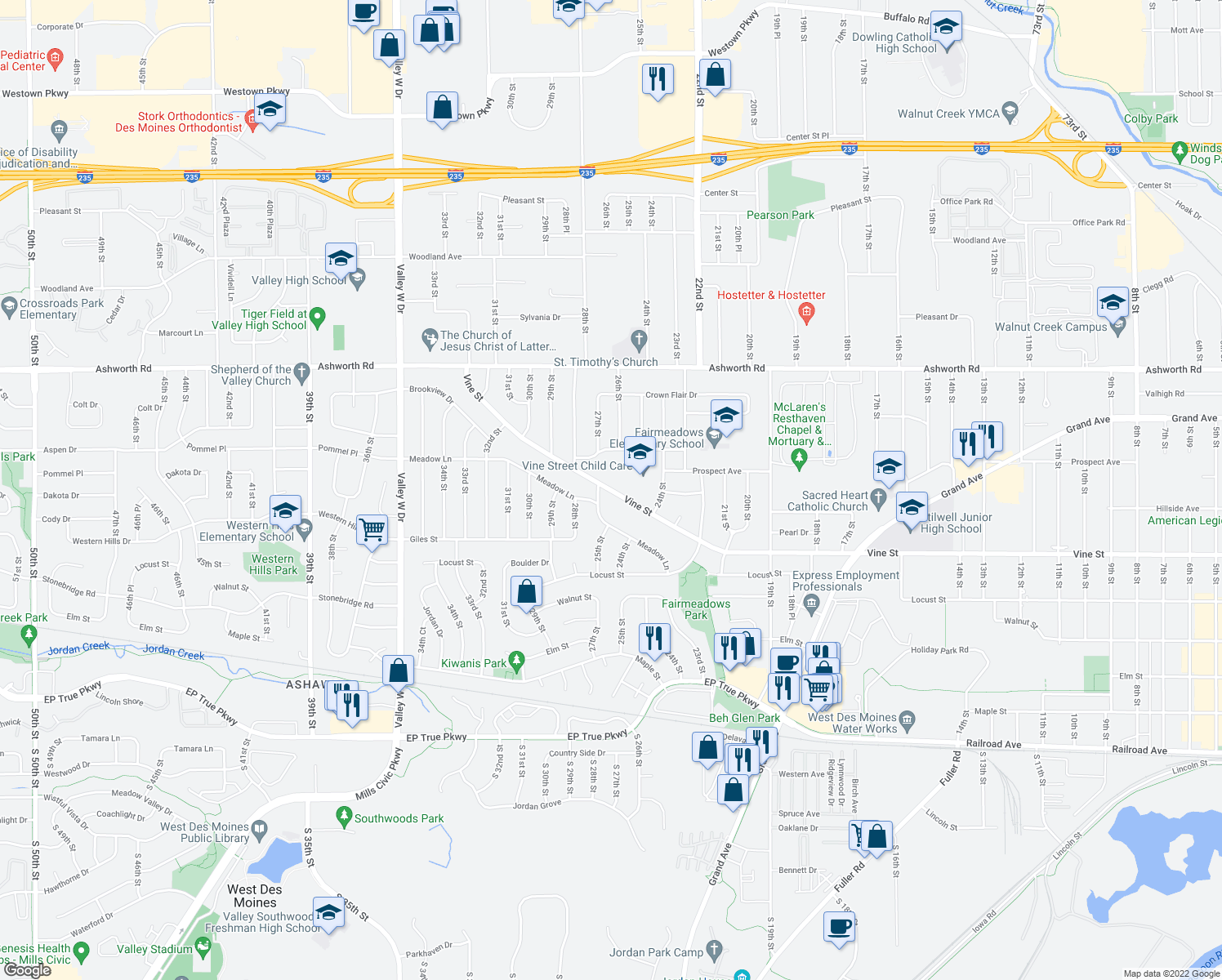 map of restaurants, bars, coffee shops, grocery stores, and more near 2625-2699 Vine Street in West Des Moines