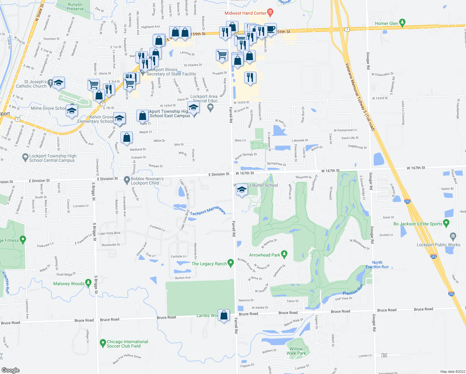 map of restaurants, bars, coffee shops, grocery stores, and more near S Farrell Rd in Lockport