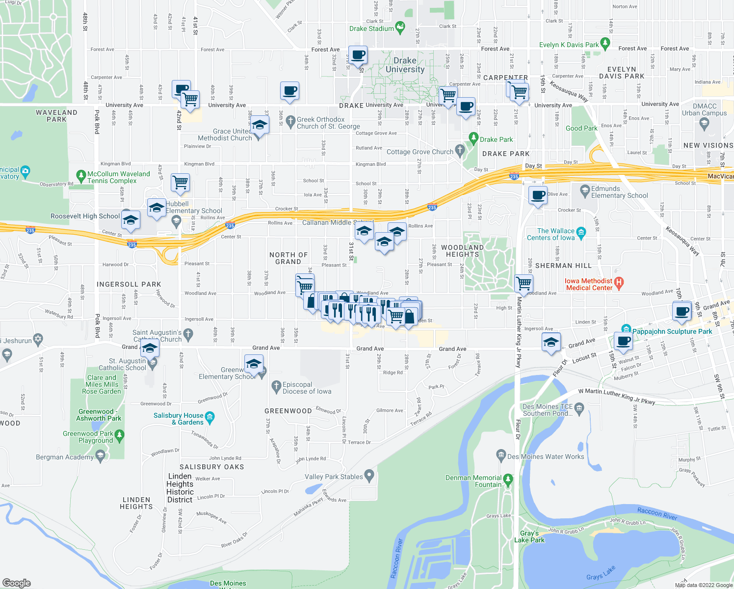 map of restaurants, bars, coffee shops, grocery stores, and more near 3015 High Street in Des Moines