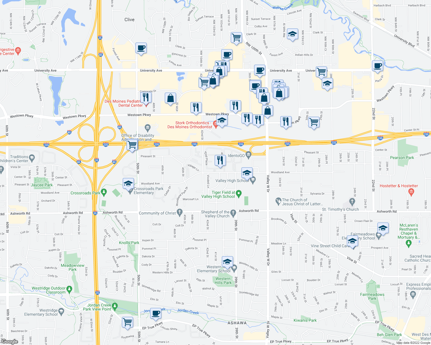 map of restaurants, bars, coffee shops, grocery stores, and more near Woodland Ave & Woodland Plaza in West Des Moines