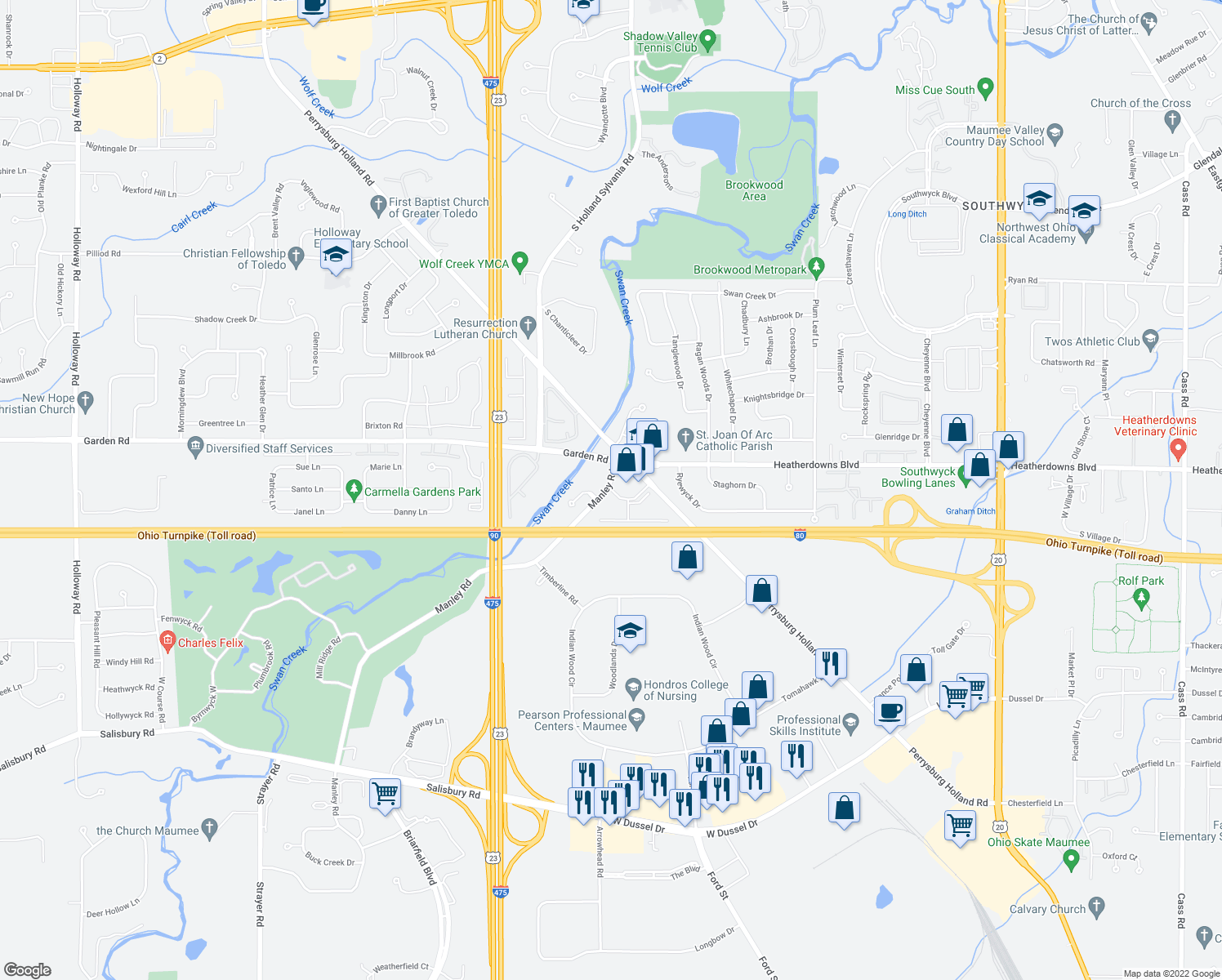 map of restaurants, bars, coffee shops, grocery stores, and more near 2611 Pine Trace Dr in Maumee