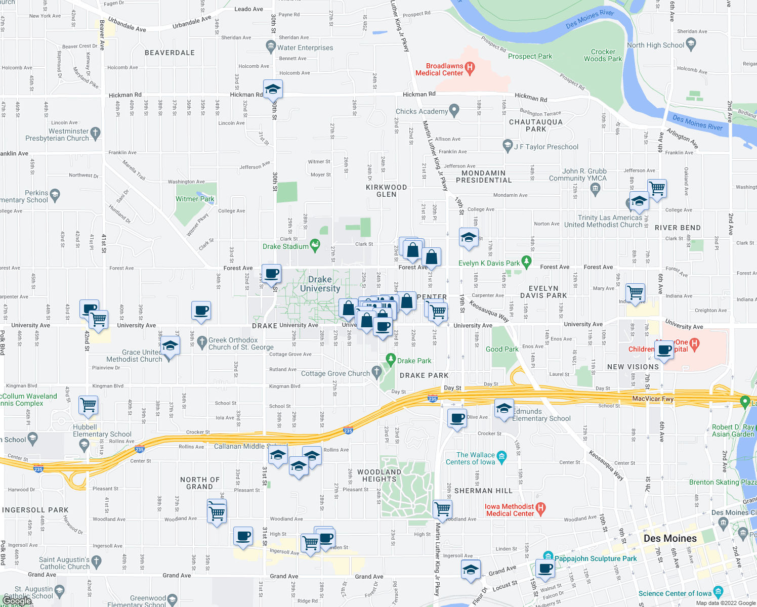 map of restaurants, bars, coffee shops, grocery stores, and more near Carpenter Ave & 24th St in Des Moines