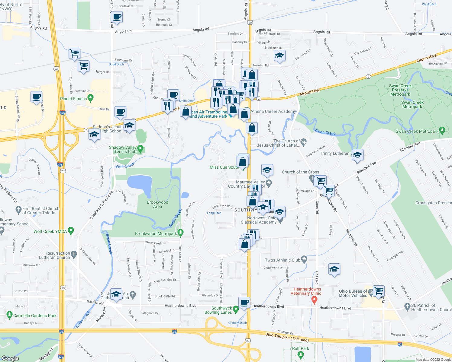 map of restaurants, bars, coffee shops, grocery stores, and more near 1728 Brownstone Boulevard in Toledo